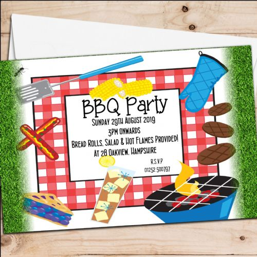 10 Personalised BBQ Barbeque Summer Garden Birthday Party Invitations N1